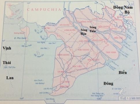 Lược đồ vùng Đồng bằng sông Cửu Long