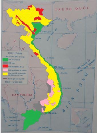 Lược đồ phân bố các loại đất chính ở Việt Nam