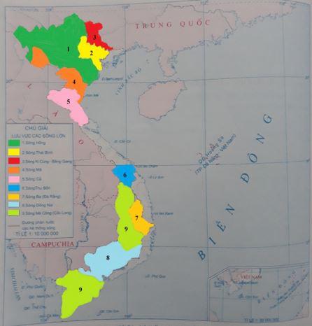 Lược đồ các hệ thống sông Việt Nam