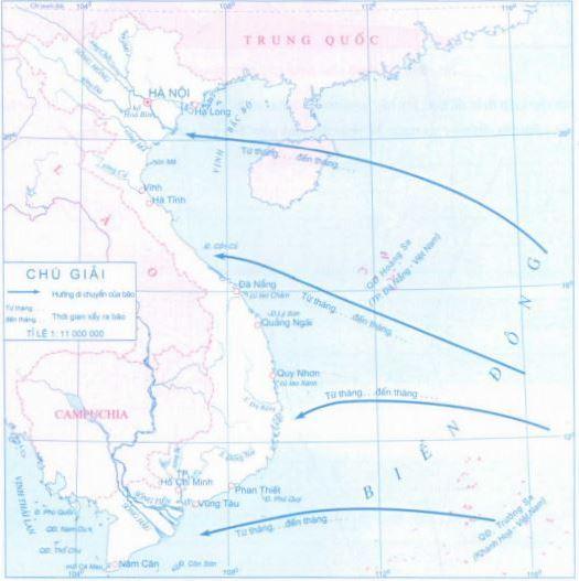 Lược đồ diễn biến mùa bão tại Việt Nam