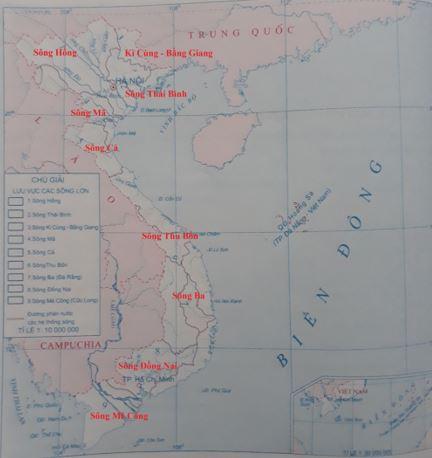 Lược đồ các hệ thống sông lớn Việt Nam