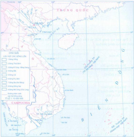 Lược đồ Các hệ thống sông lớn ở Việt Nam