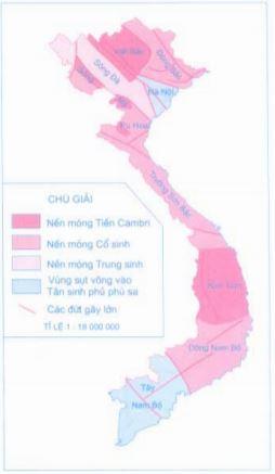 Lược đồ Các vùng địa chất kiến tạo Việt Nam (phần đất liền)