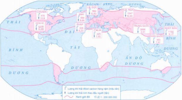 Lược đồ các quốc gia thải khí gây ô nhiễm nhiều nhất trên thế giới
