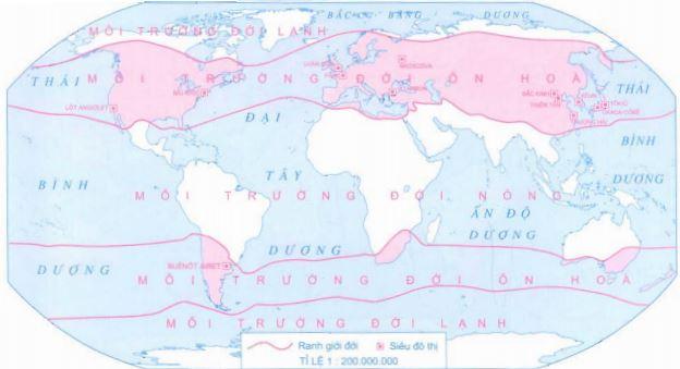 Lược đồ phân bố các siêu đô thị đới ôn hòa