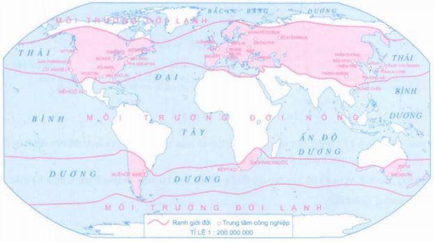 Lược đồ phân bố một số trung tâm công nghiệp chủ yêu ở đới ôn hòa