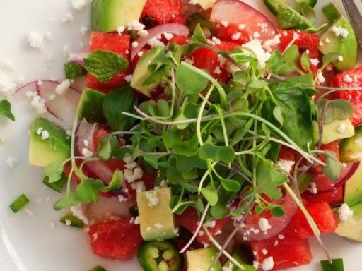 Thành phẩm món salad dưa hấu rau mầm và bơ