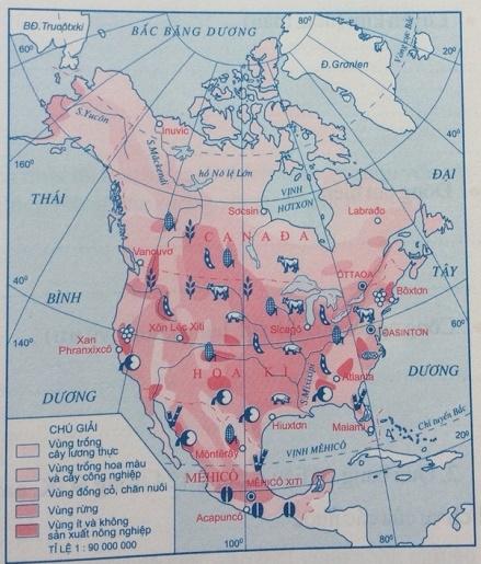 Lược đồ nông nghiệp Bắc Mĩ