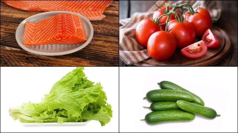 Nguyên liệu làm Salad cá hồi dầu giấm