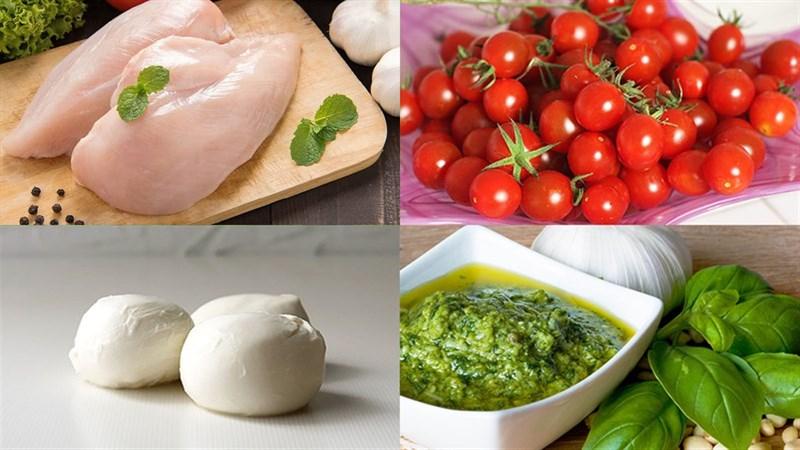 Nguyên liệu làm Salad pesto ức gà
