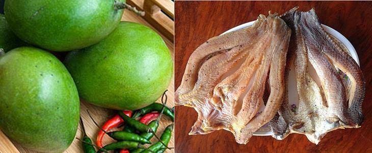 Nguyên liệu làm Gỏi xoài khô cá lóc
