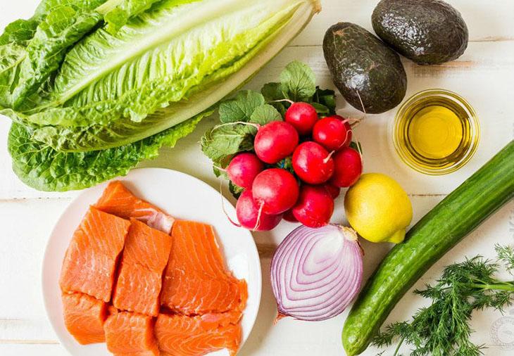 Nguyên liệu làm Salad bơ cá hồi