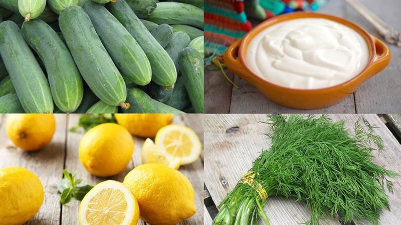 Nguyên liệu làm Salad dưa leo sốt kem